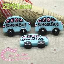 kawaii Resin blue school bus Flat back decoration 50pcs/lot 22*31mm