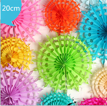 "10pcs/lot   8""(20cm)  artificial flowers Snowflake Paper Fan Tissue Paper Fan Crafts Party Wedding Home Decorations   AE02920"