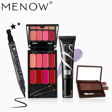 MENOW Brand Makeup set Professional Cosmetics Kit Stare Eyeliner & 8Colors lipsticks &BB Cream Foundation& Eyebrow maquiage5467(China)