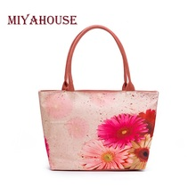 Miyahouse Summer Canvas Tote Bags Women Colorful Floral Printed Shoulder Handbags Lady Large Capacity Female Canvas Beach Bag