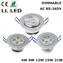Mini Dimmable  3W 6W  9W 12W 15W 21W Epistar LED Ceiling Downlights Light 110V/220V LED Downlight Lamp for Home/Outdoor