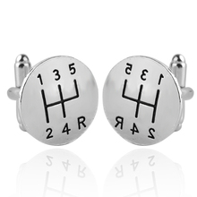 2017 Men's Silver Cufflinks Personality Creative Novelty Rroud Laser Engraving Jewelry Car Enthusiasts Cuff Links Christmas Gift(China)