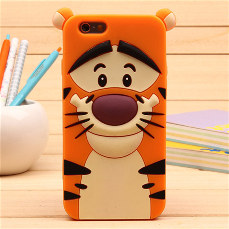 3D Cartoon Soft Silicone Phone Case For iPhone 5S 6 6S 7 8 Plus X Cover Mickey Judy Rabbit Smile Cat Tiger Stitch Unicorn Animal