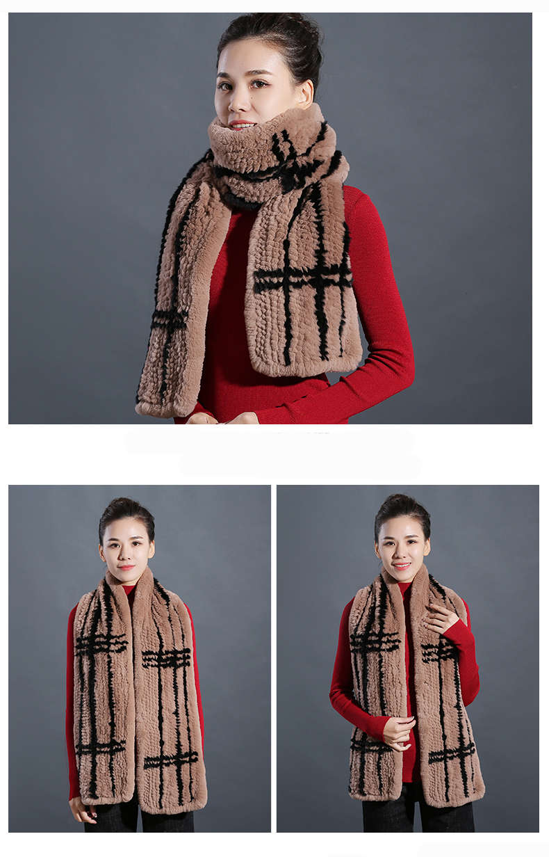 100% Real Rex Rabbit Fur Scarves Wraps For Women Winter Handmade 2018 New Fashion Long Natural Fur Scarf   (8)