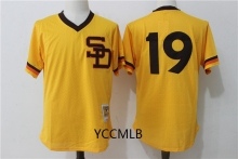 MLB Men's San Diego Padres 19 Gwynn Yellow 2017 Throwback Cooperstown Batting Practice Baseball Jersey Free Shipping(China)