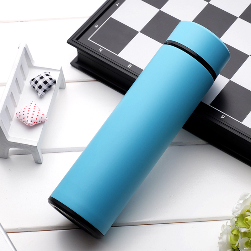 Solid blue thermal Insulation Stainless Steel Water Bottle 450ml Bottle fashion Water Bottle Sport Outdoor Travel Equipped(China)