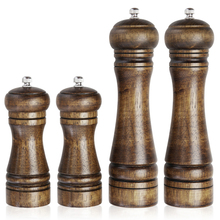 4 Pcs/Set 8 inch 5 inch Classical Oak Wood Pepper Mill Grinder Set Handheld Seasoning Spice Mill Grinder Cooking Tools Set(China)