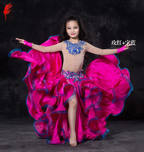 Girls performance belly dance suit skin long sleeves top+satin skirt 2pcs belly dance suit child belly dance suit dancer's set(China)