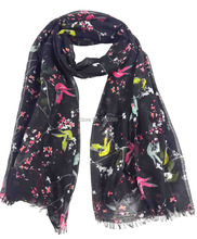 Magpie on Plum Birds and Floral Print Frayed Edge Scarf Head Wrap Hijab Women's Gift Accessories, Free Shipping(China)