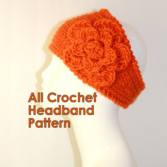 Crochet Headband Womens Knit Hair Band Flower Headband Winter Ear