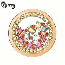 Qusfy 2017 New Arrival Multi-color Crystal Pendant for Holder Necklace Metal Coin Round Pendant Replaceable Personalized NC