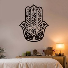 DCTOP Hamsa Hand Wall Stickers Home Decor Living Room Art Wall Decals Vinyl Decal Sticker Eye Meditates Religion Indian Murals