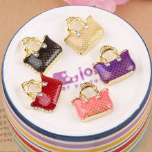Free Shipping Mini Order 20PCS Oil Drop Fashion Women Handbag Shape Pendant Charms 20*20MM Gold Tone Enamel DIY Bracelet Charm