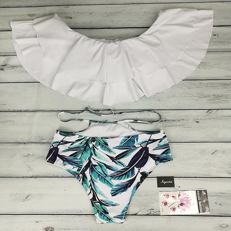 Bikini set 17 Doubledeck flouncing Swimsuit Push Up Bathing Suit sexy Women High Waist Swimwear Off Shoulder Swimming Suits 12