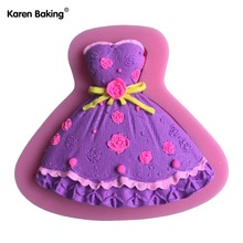 New Arrival One-Piece Dress Design 3 D Silicone Mold Chocolate Fudge Cake Decorating Tools C589