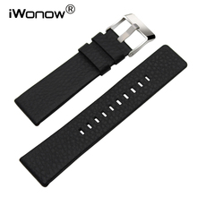 Genuine Leather Watchband 20/24/26/27/28mm +Tool for DZ7313/7322/7257 Watch Band Wrist Strap Steel Buckle Bracelet Black Brown(China)