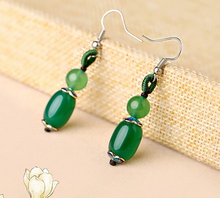 Earring+++409 Retro temperament Green S925 pure Tremella hook folk style female Earrings(China)