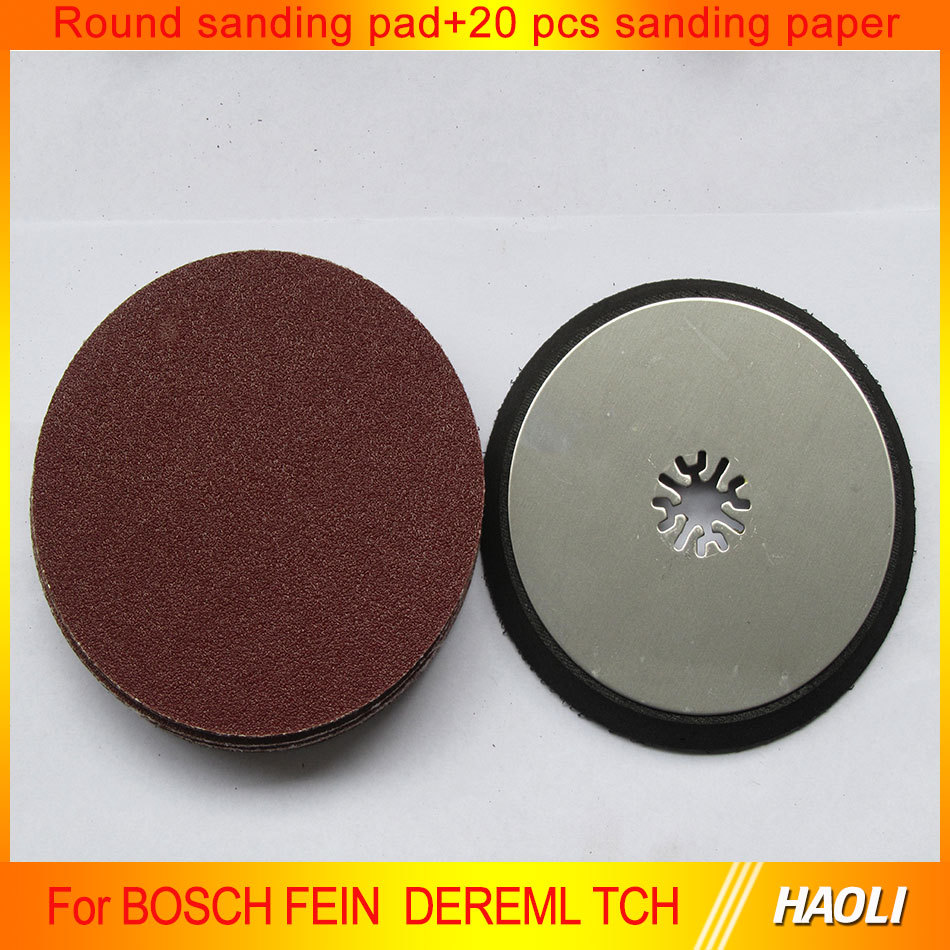 Round sanding pad + 20 pcs sanding paper for multimaster Oscillating Tools as Fein, TCH,Dremel etc,at good price fast delivery<br><br>Aliexpress