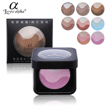 Shimmer Love Alpha Baked Eye Shadow Powder Makeup Palette Fine Silty Long-lasting Mineral Eyeshadow Kit + Brush Mirror Cosmetics