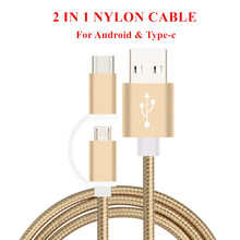 FFFAS Mini 25cm 1m Short Micro USB Type-C 2 in 1 Nylon Cable 2A fast Charging Data Sync Adapter USB Cable for MP3 MP4 Macbook