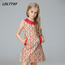 European Style Designer Girl Dresses Summer 2017 Girls Leaf Dress Ball Gown Children Dress with Leaves Printed Christmas Clothes