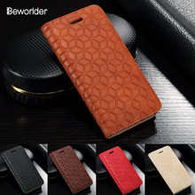 Beworlder For Apple iPhone 5S Case Emboss Lattice Leather Case TPU Phone Flip Wallet Card Slot Cover For iphone 5 Case iphone SE(China)