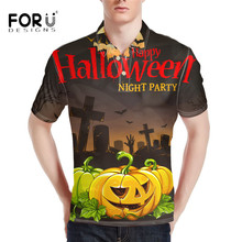 FORUDESIGNS Tommis 3D Halloween Pumpkin Print Men's Polo Shirt Comfort Bodybuilding Tops for Male Brand Polos Camisa Masculina