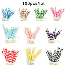 Paper Straws 100pcs/lot Mixed Paper Stripe Retro Vintage Stripe Party Chevron Drinking Straws Kids Birthday Wedding Christmas(China)