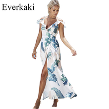 Everkaki 2017 Vintage Floral Dresses Chiffon Summer Women High waist Retro Print Ruffles backless Long dress Cut Out Vestidos