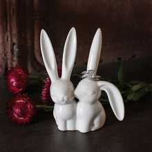Desktop Decoration Cute Bunny Rabbit Figurine, Creative Home Craft, Birthday Wedding Gift, Ceramic, 10cm H