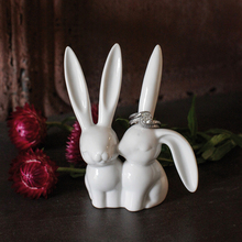 Desk & Table Decoration Cute Bunny Rabbit Figurine Creative Home Craft Birthday Wedding Gift(China)