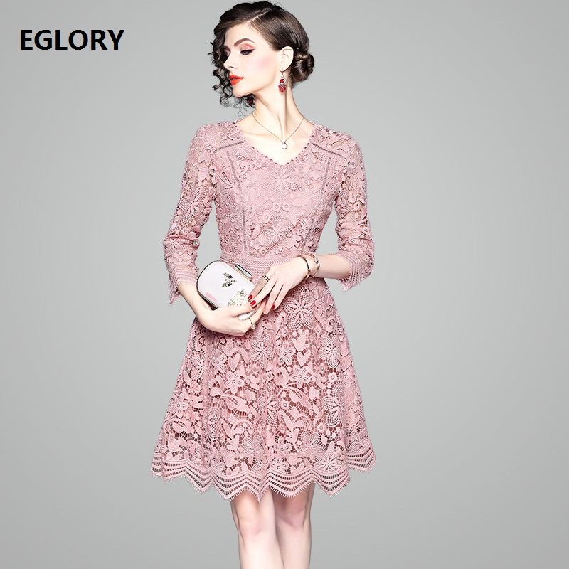 2019 Fashion Lace Dress High Quality Ladies V-Neck Crochet Lace Vestido Women Slim Fitted Party Hollow Out Dress Pink Green Blue