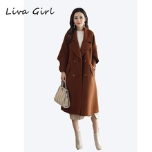 New winter coat for winter 2017Woollen cloth coat han version easy to look thin medium long coat female winter(China)
