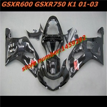 hw- On sale Glossy black For A GSXR600 GSXR750 K1 01-03 GSXR 600 750 GSX-R600 R750 K1 01 02 03 2001 2002 2003 Fairing BBF(China)