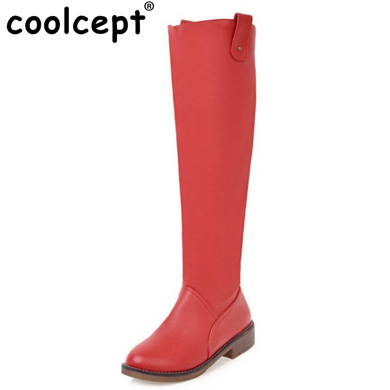 Coolcept Size 34-43 Women Knee Flats Boots Thick Fur Long Flat Boot Women Winter Botas Warm Shoe Zipper Handmade Women Footwear<br>