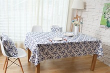 XYZLS 2016 New Traditional Chinese Style Table Covers Blue and White Porcelain Printed Table Cloth Cotton Linen Tablecloth(China)