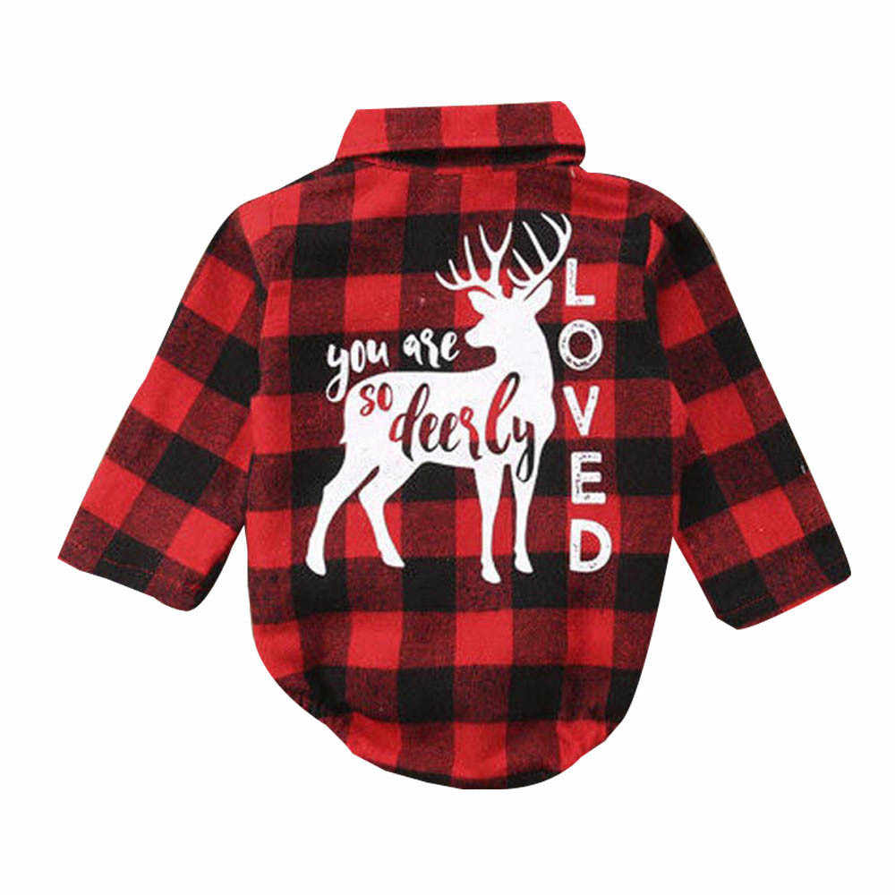 c6a51def0942 2018 New Brand Xmas Infant Newborn Baby Girls Boys Christmas Long Sleeve  Blouse Plaid Deer Romper