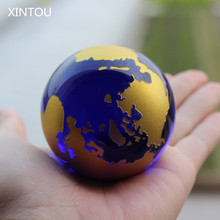 XINTOU Crystal Glass marbles Globe world map Ball Blue Feng shui Sphere world globe Craft ornaments Home Office Nautical Decor(China)