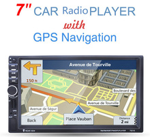 Universal 2 din 7 inch GPS Navigation  Car DVD MP4 Player With Bluetooth USB AM FM RDS touch screen SD card Radio