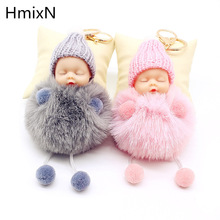NEW Sleeping Baby Doll Keychain Pompom Rabbit Fur Ball Key Chain Car Keyring Women Holder Bag Pendant Charm Accessory porte clef(China)