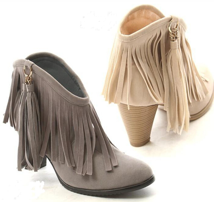 The new ladies thick with ankle boots fringed boots women fashion boots shoes<br><br>Aliexpress