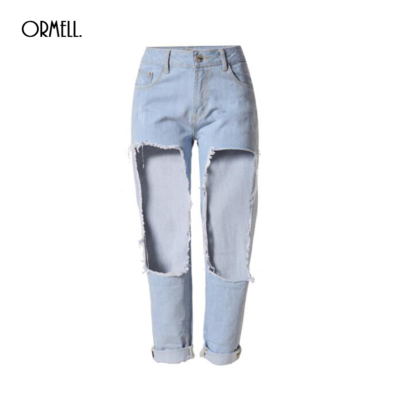 2017 Women Jeans New Fashion Boyfriend Straight Big Hole Cotton Stretch Bleached JeansОдежда и ак�е��уары<br><br><br>Aliexpress