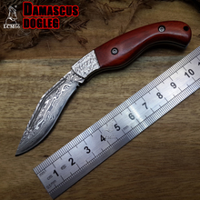 LCM66 Promotion! Damascus Folding Knife, Sandal Wood Handle Survival Knives,Mini Rescue Pocket Knife,Gift Knives Tools
