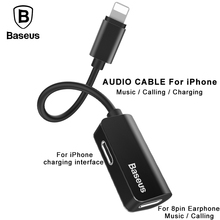Baseus 2in1 Aux Cable for iPhone 7 8 Audio Cable Earphone Adapter for iPhone 8 Splitter Cable For Charging Calling Data transmit(China)