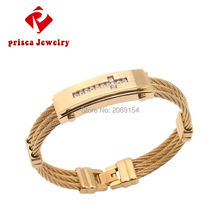 Braclet Men Jewelry 2017 Stainless Steel Cross Bangle Gold Color Charm Wristband Silver Link Chain Fashion Link Chain For Gift(China)