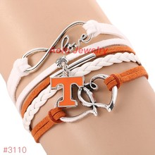 Infinity Love Tennessee Volunteers College Football Bracelet 2016 New Leather Bracelet Fans Jewelry 6Pcs/Lot ! Free Shipping!