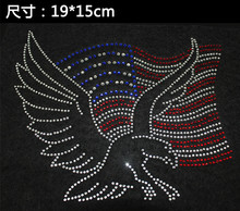 2pc/lot America Eagle hot fix rhinestone transfer motifs iron rhinestone appliques design stone for shirt bag(China)