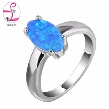 ZHE FAN Simple Blue White Pink Fire Opal Rings for Women Marquise Ring For Female Dress Party Wedding Korean Jewelry(China)