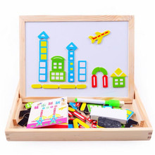 Kids Jigsaw Baby's Drawing Board Wooden toy Multifunctional Educational Farm Jungle Animal Wooden Magnetic Puzzle Children