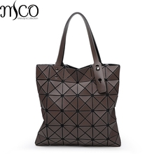 2017 Japan Style Luxury Matte Rock Holographic Shoulder Bag Fashion Geometry Laser Folding Women Bao Tote Handbag Big Shop Bags